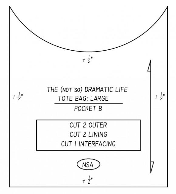 Tote Bag Pattern:  Curved Pocket