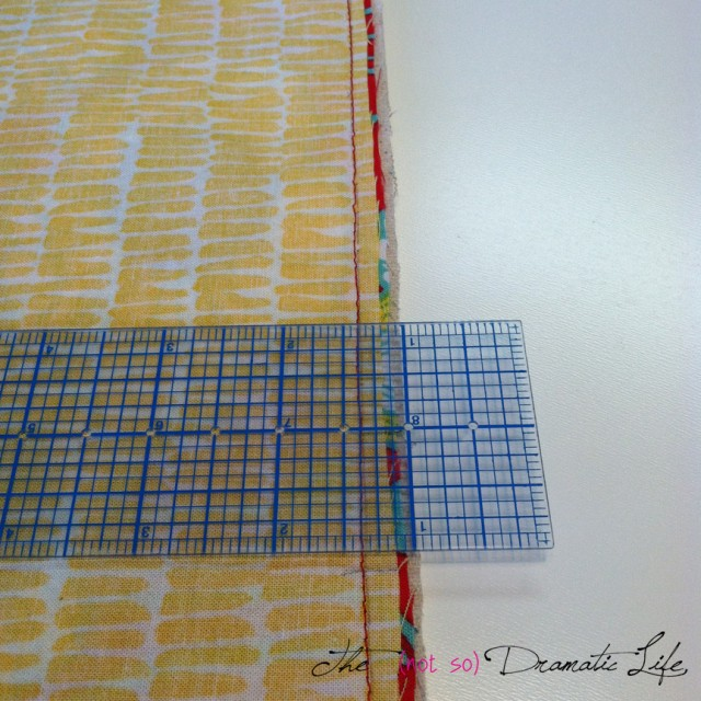 Graded Seam Allowance.  The yellow fabric is the inner lining.