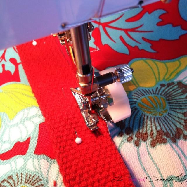 Sewing down the webbing handles