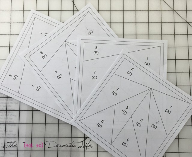 Four templates that have been rough cut for stitching
