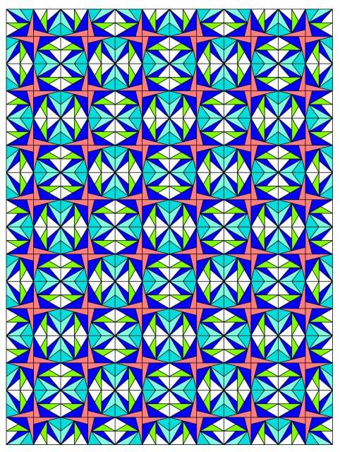 This Layout alternates Summer Starburst blocks with Mirrored Summer Starburst Blocks