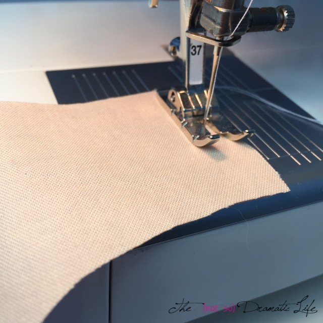 "Stitching the short seams to create the surround using a 1/4"" seam allowance"